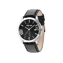 Police - Mens silver dial black leather strap watch