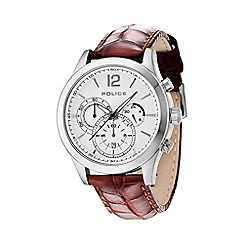 Police - Mens white chronograph dial brown leather strap watch