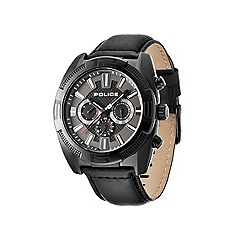 Police - Mens black chronograph dial black leather strap watch