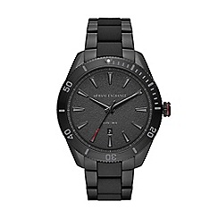 Police - Mens black dial black leather strap watch