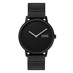 Police - Mens grey multi dial black leather strap watch