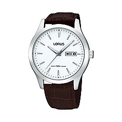 Lorus - Men's brown round leather strap watch