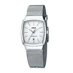 Lorus - Ladies silver square mesh strap watch