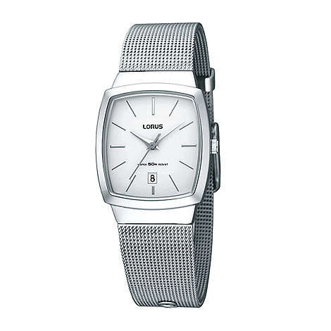 Lorus - Ladies silver square mesh strap watch