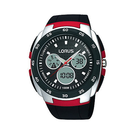 Lorus - Men+s dark red round digital watch