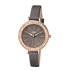Limit - Ladies rose gold plated stone set strap watch