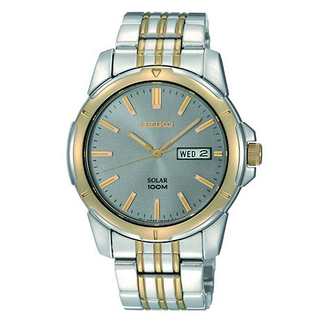 Seiko - Men+s silver two tone round watch
