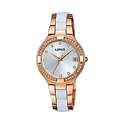 Lorus - Ladies rose gold and white inset bracelet watch