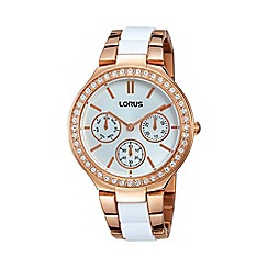 Lorus - Ladies rose gold mutlidial with inset white bracelet watch