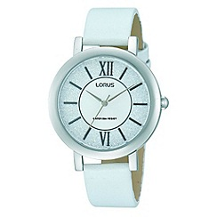 Lorus - Ladies white leather glitter dial strap watch
