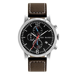 Ted Baker - Mens black dial with brown leather strap