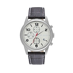 Ted Baker - Mens off white dial brown leather strap