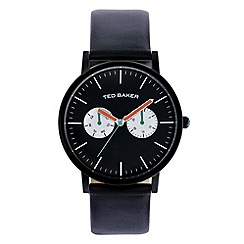 Ted Baker - Mens Black leather strap watch