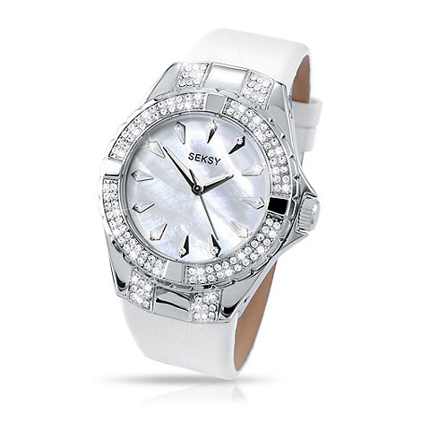 Seksy - Ladies white diamante thick strap watch
