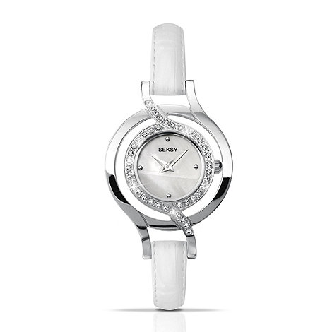 Seksy - Ladies white diamante set watch