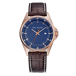 Ted Baker - Mens Blue dial with black leather strap