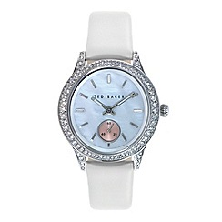 Ted Baker - Ladies white dial white leather strap