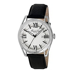 Kenneth Cole - Mens silver dial black leather strap