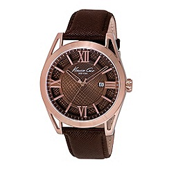 Kenneth Cole - Mens Brown dial brown leather strap