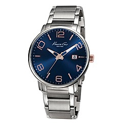 Kenneth Cole - Mens blue dial stainless steel bracelet