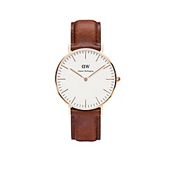 Daniel Wellington - Ladies rose gold st andrews brown leather strap watch