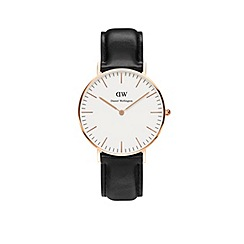 Daniel Wellington - Unisex rose gold 'Sheffield' black leather strap watch