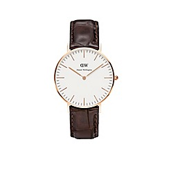 Daniel Wellington - Ladies rose gold york brown leather strap watch