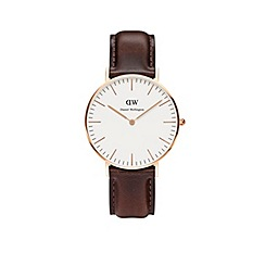 Daniel Wellington - Ladies rose gold bristol brown leather strap watch