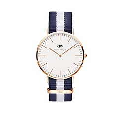 Daniel Wellington - Gents rose gold glasgow navy/white nato strap watch
