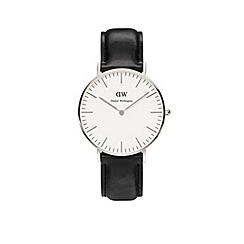 Daniel Wellington - Ladies silver sheffield black leather strap watch