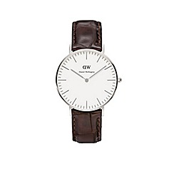 Daniel Wellington - Ladies silver york brown leather strap watch