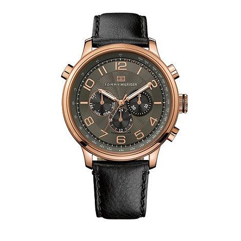 Tommy Hilfiger - Men+s black round case watch
