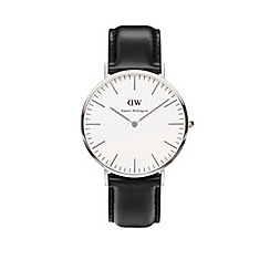 Daniel Wellington - Gents silver sheffield black leather strap watch