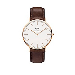 Daniel Wellington - Gents rose gold bristol brown leather strap watch