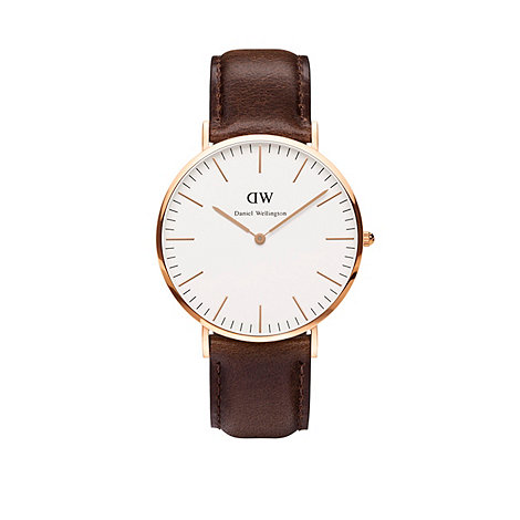 Daniel Wellington - Gents rose gold bristol brown leather strap watch 0109dw