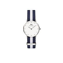 Daniel Wellington - Ladies silver classy glasgow navy/white nato strap watch