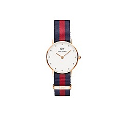 Daniel Wellington - Ladies rose gold classy oxford navy/red nato strap watch