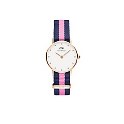 Daniel Wellington - Ladies rose gold classy winchester navy/pink nato strap watch