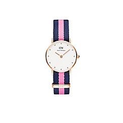 Daniel Wellington - Ladies rose gold classy winchester navy/pink nato strap watch 0906dw