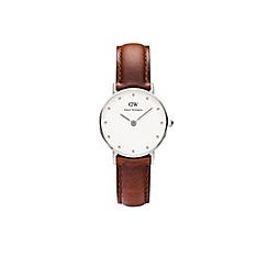 Daniel Wellington - Ladies silver classy st andrews brown leather strap watch
