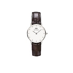 Daniel Wellington - Ladies silver classy york brown leather strap watch