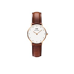 Daniel Wellington - Ladies rose gold classy st andrews brown leather strap watch 0900dw