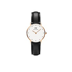 Daniel Wellington - Ladies rose gold classy sheffield black leather strap watch