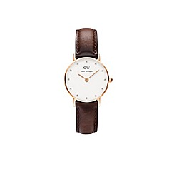 Daniel Wellington - Ladies rose gold classy sheffield brown leather strap watch