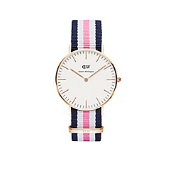 Daniel Wellington - Ladies rose gold southampton navy/white/pink nato strap watch