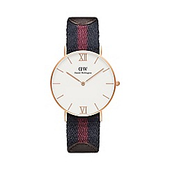 Daniel Wellington - Ladies rose gold london half red/navy nato strap half brown leather strap watch