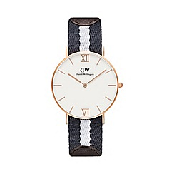 Daniel Wellington - Ladies rose gold glasgow half white/navy nato strap half brown leather strap watch