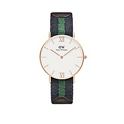 Daniel Wellington - Ladies rose gold warwick half green/navy nato strap half brown leather strap watch
