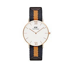 Daniel Wellington - Ladies rose gold selwyn half mustard/navy nato strap half brown leather strap watch