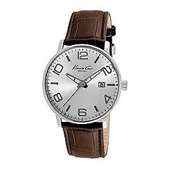 Kenneth Cole - Mens silver dial brown leather strap